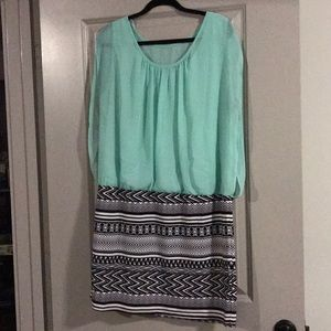 Mint/black/white sleeveless dress